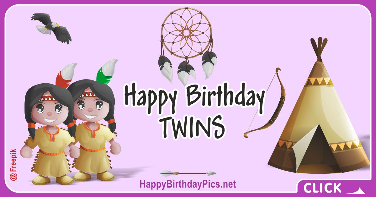 Happy Birthday Native American Twin Girls Card Equivalents