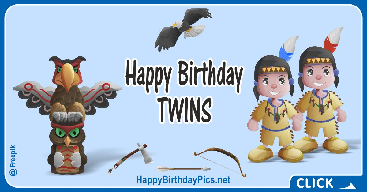 Happy Birthday Native American Twin Boys Card Equivalents