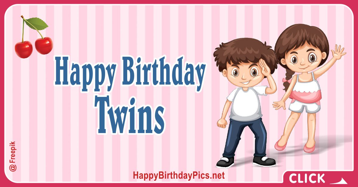 Happy Birthday Lovely Twins Card Equivalents