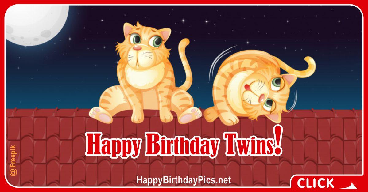Happy Birthday Twin Cats Card Equivalents