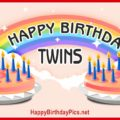 Happy Birthday with twin Rainbow Cakes