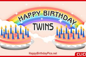 Happy Birthday with Twin Rainbow Cakes