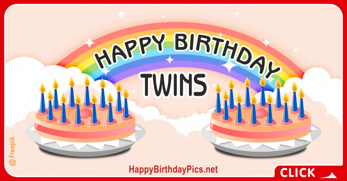 Happy Birthday with Twin Rainbow Cakes Card Equivalents