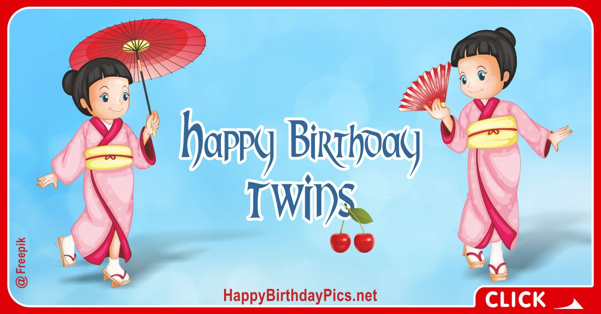 Happy Birthday Twins in Japanese Style Card Equivalents