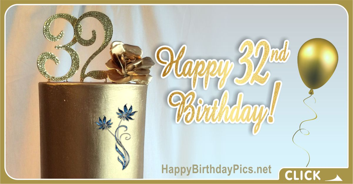 Happy 32nd Birthday Gold Card Equivalents