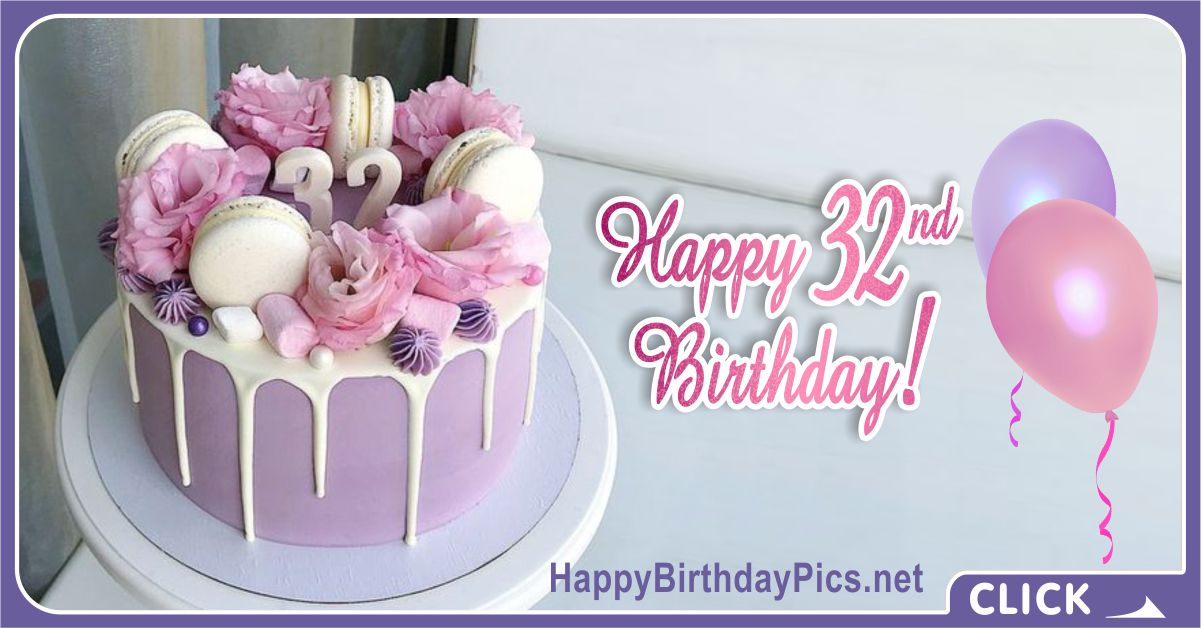 Happy 32nd Birthday with Lilac Flowers Card Equivalents