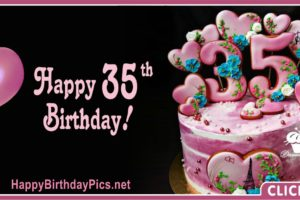 Happy 35th Birthday with Pearls Rubies