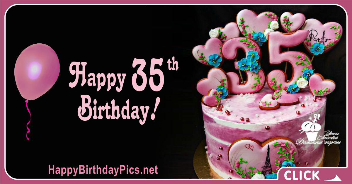 Happy 35th Birthday with Pearls Rubies Card Equivalents