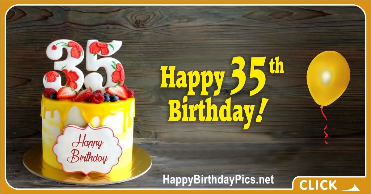 Happy 35th Birthday with Yellow Cake Card Equivalents