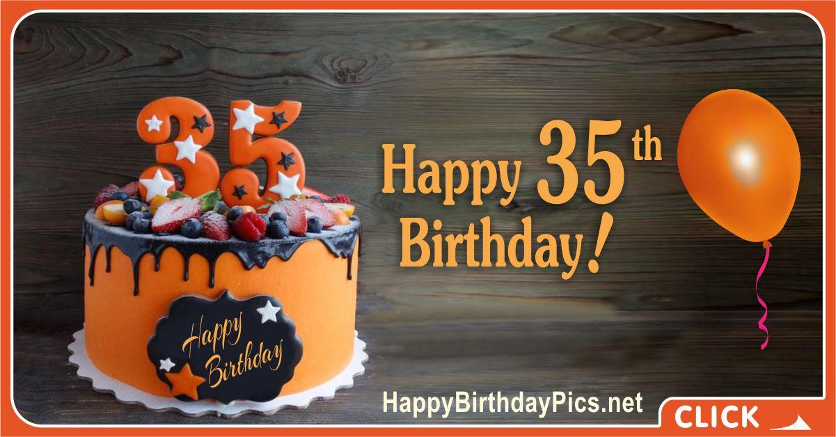 Happy 35th Birthday with Orange Cake Card Equivalents