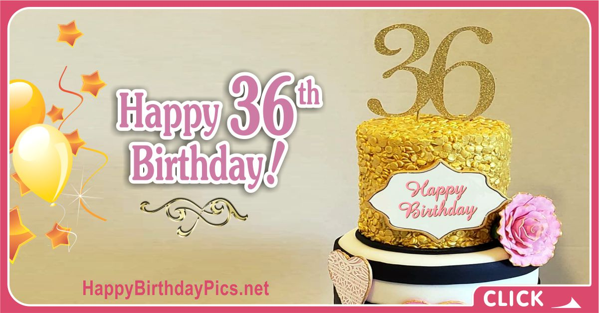 Happy 36th Birthday with Pink Gold Theme Card Equivalents