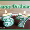 Happy 37th Birthday with Green Letters