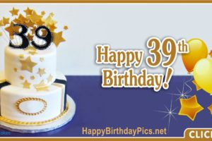 Happy 39th Birthday with Gold Stars