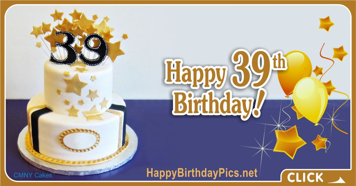 Happy 39th Birthday with Gold Stars Card Equivalents
