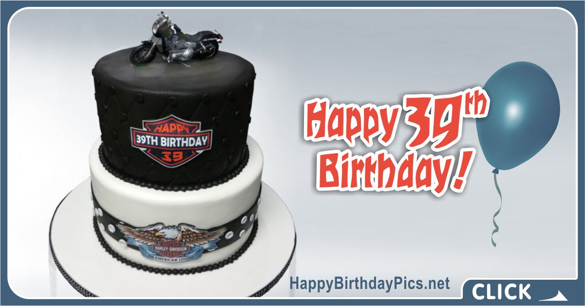 Happy 39th Birthday with Harley Davidson Motorcycle Card Equivalents