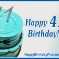 Happy 41st Birthday in Blue Silver