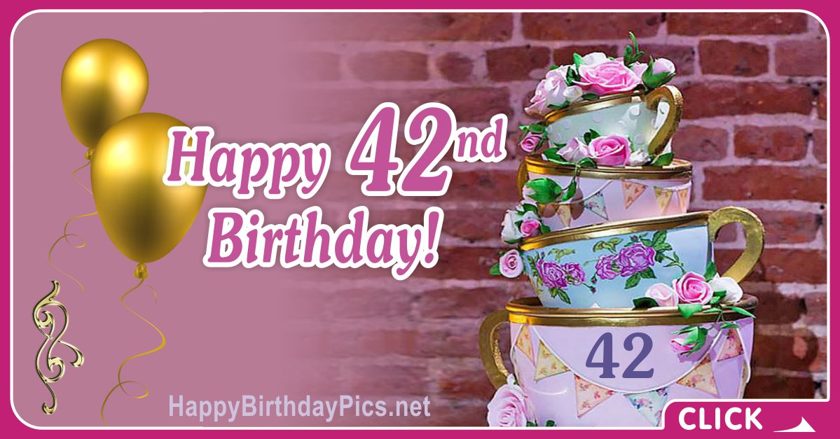 Happy 42nd Birthday with Golden Porcelain Card Equivalents
