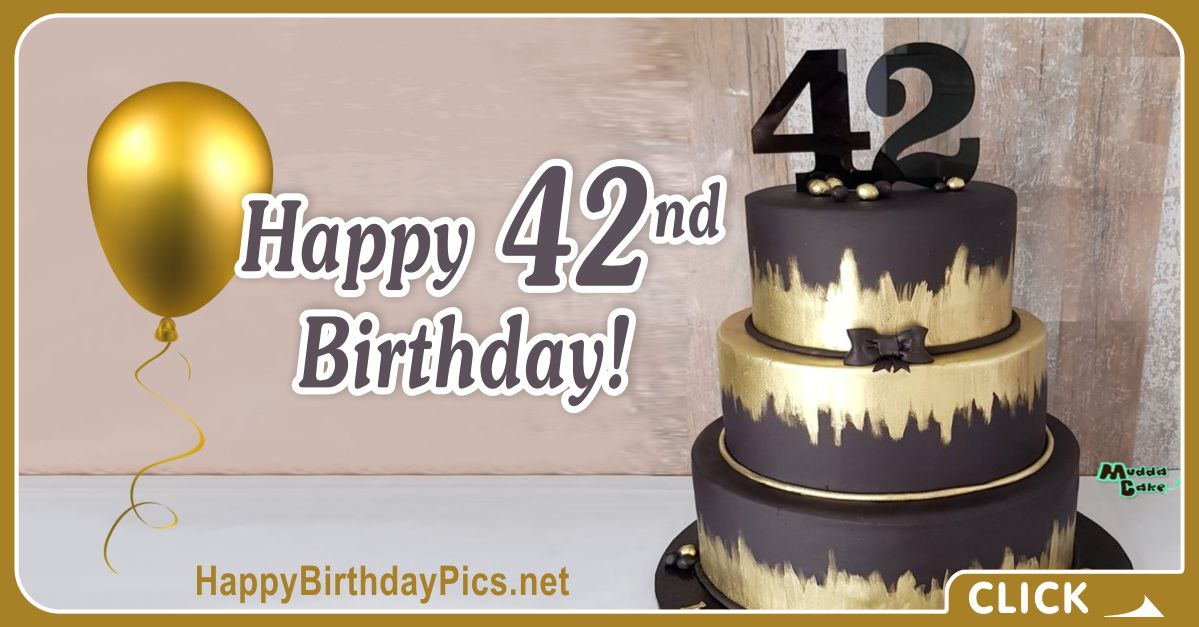 Happy 42nd Birthday with Black Cake Card Equivalents