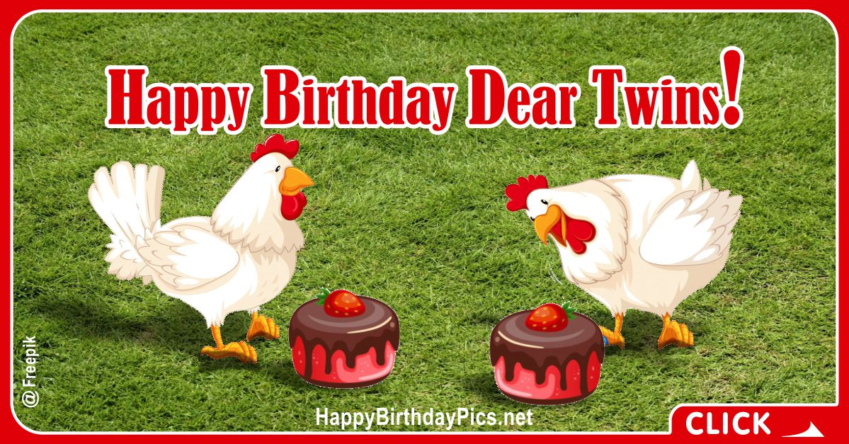 Happy Birthday Twin Chickens Card Equivalents