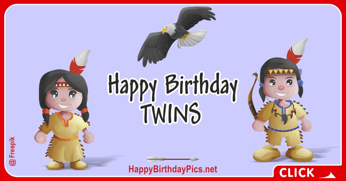 Happy Birthday Native American Twins Card Equivalents