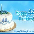 Happy 44th Birthday with Blue Ornaments