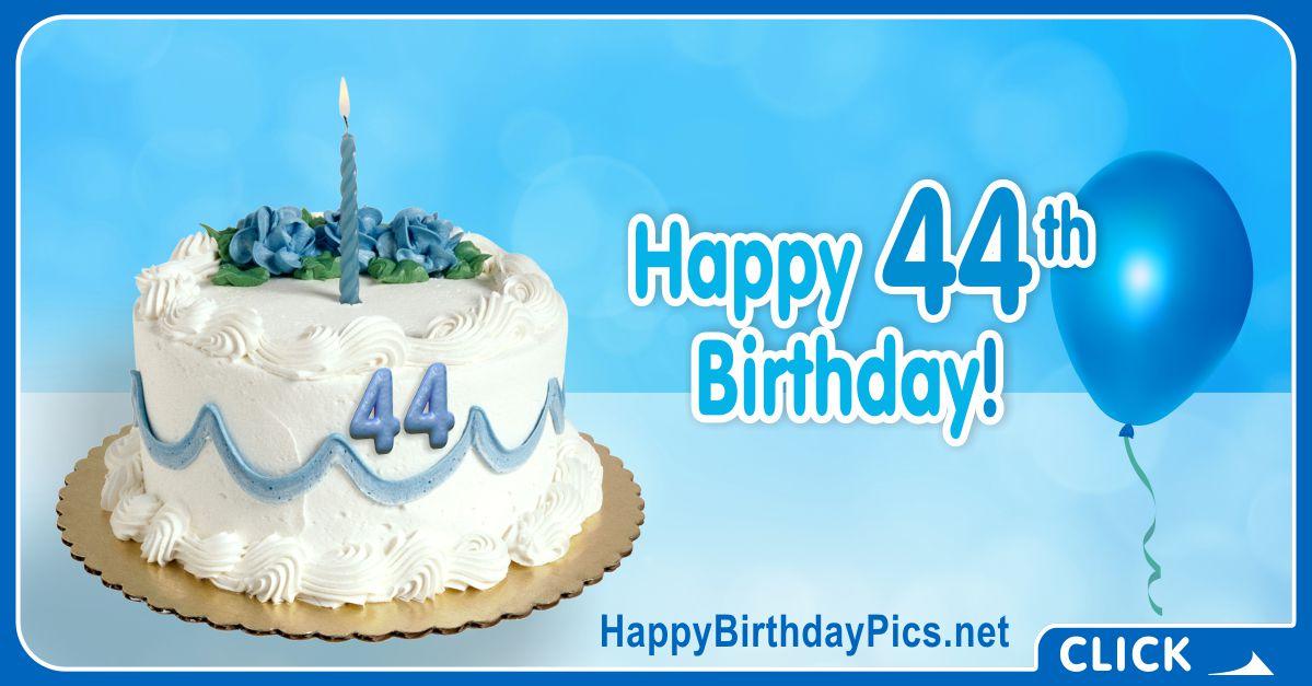 Happy 44th Birthday with Blue Ornaments Card Equivalents