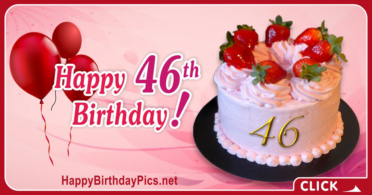 Happy 46th Birthday with Ruby Gold Design Card Equivalents