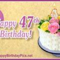 Happy 47th Birthday with Flower Basket Design
