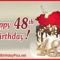48th Birthday Red Roses Golden Brooch
