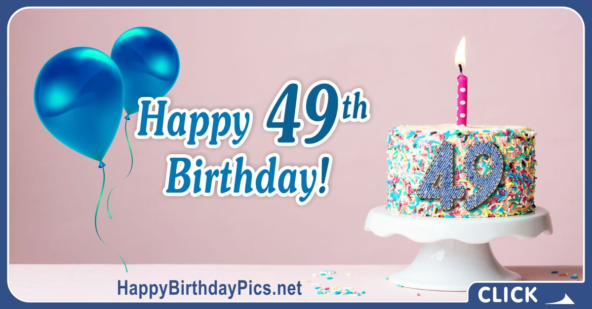 Happy 49th Birthday with Blue-Jean Pattern Card Equivalents