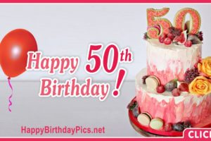 Happy 50th Birthday with Fig Cake Decoration