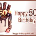 Happy 50th Birthday with Fruit Cake