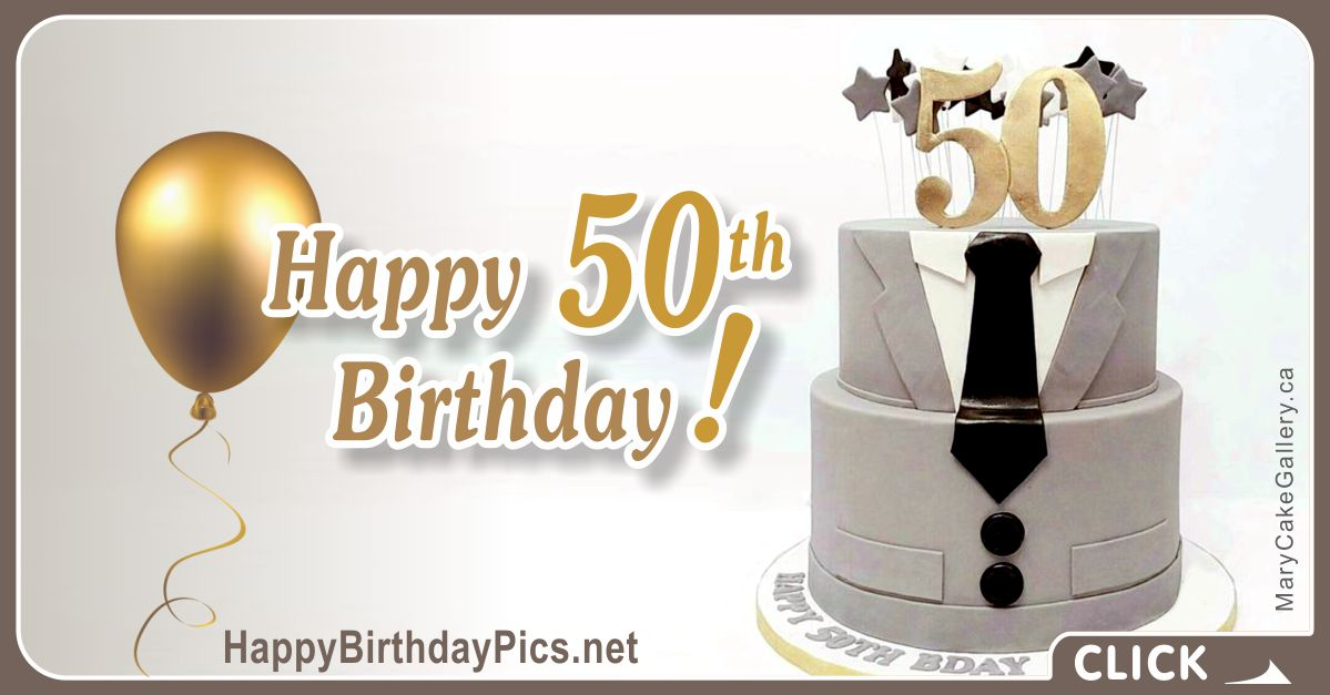 Happy 50th Birthday with Silver Men's Suit Card Equivalents