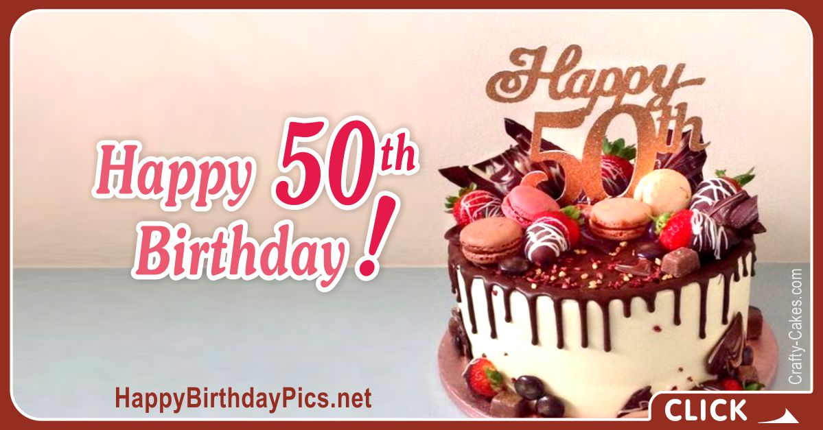 Happy 50th Birthday with Gold Chocolate Card Equivalents