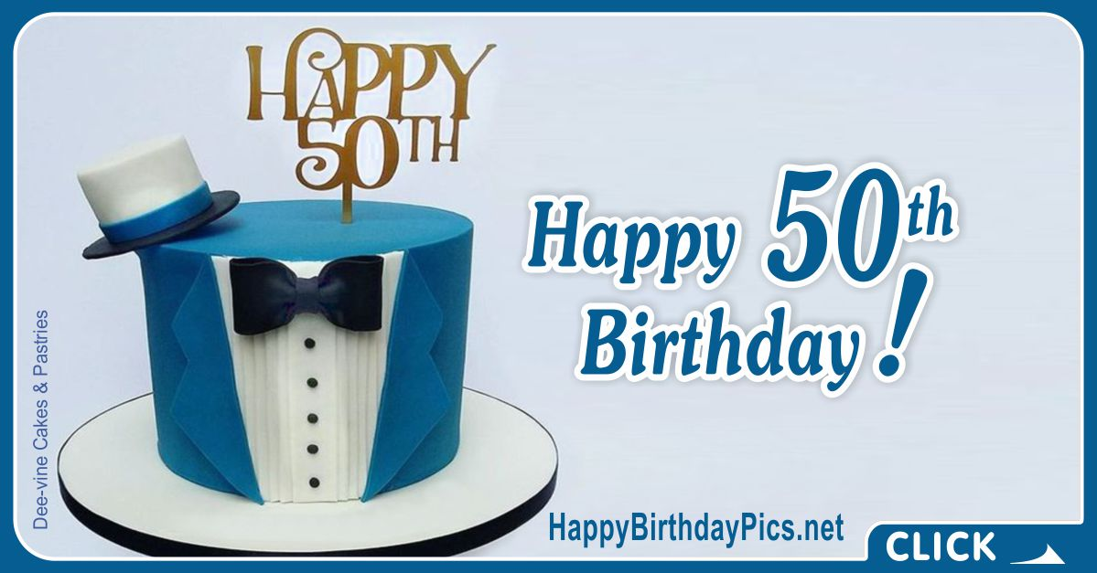 Happy 50th Birthday with Blue Tuxedo Card Equivalents