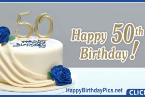 Happy 50th Birthday with Blue Roses