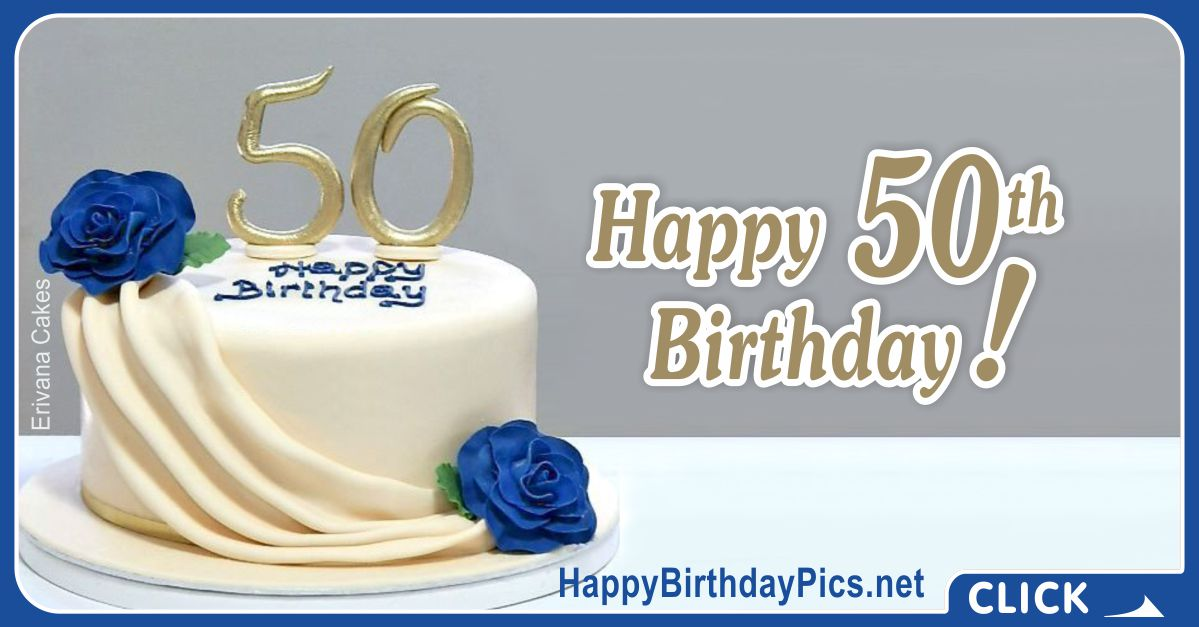 Happy 50th Birthday with Blue Roses Card Equivalents