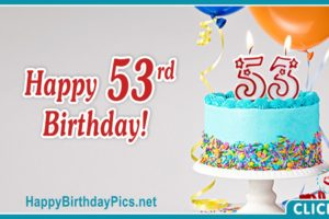 Happy 53rd Birthday with Turquoise Cake