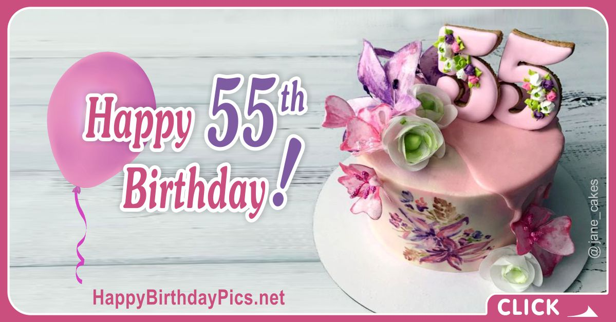 Happy 55th Birthday with Floral Design Card Equivalents