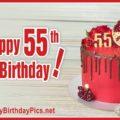 Happy 55th Birthday with Pomegranate Cake