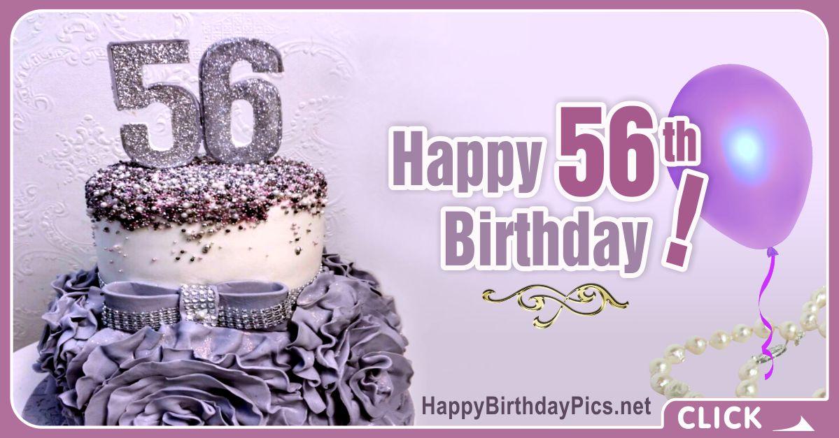 Happy 56th Birthday with Purple Diamonds Card Equivalents