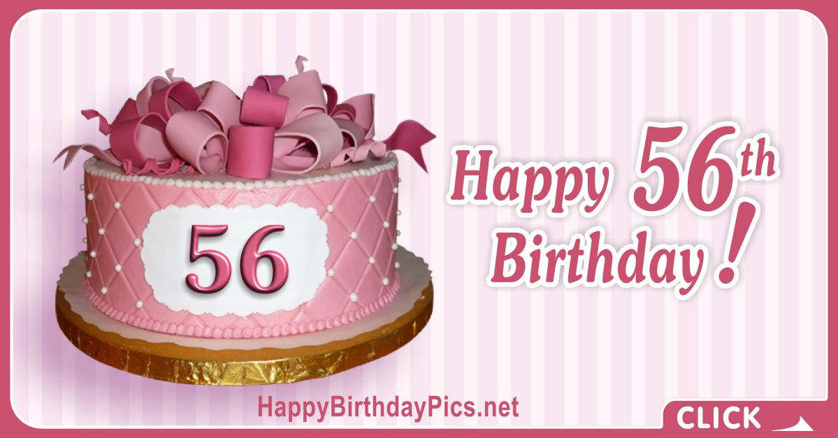 Happy 56th Birthday with Diamond Pattern Cake Card Equivalents