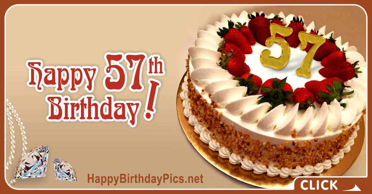 Happy 57th Birthday with Pearl Choker Cake Card Equivalents