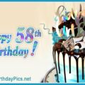 Happy 58th Birthday with Blue Decoration