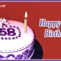 Happy 58th Birthday with Motif Cake
