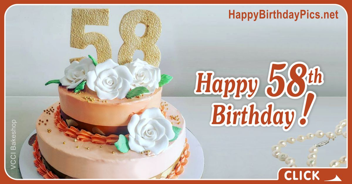 Happy 58th Birthday with White Roses Card Equivalents