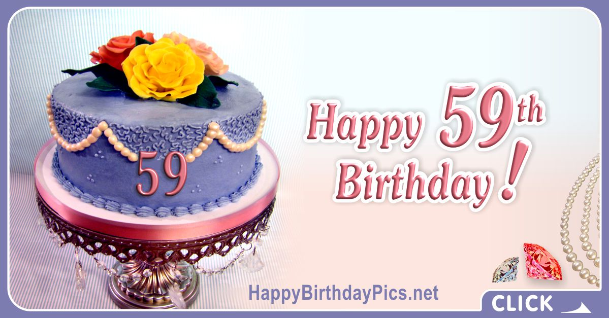 Happy 59th Birthday with Pearl Cake Card Equivalents