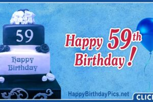 Happy 59th Birthday with Navy Blue Cake