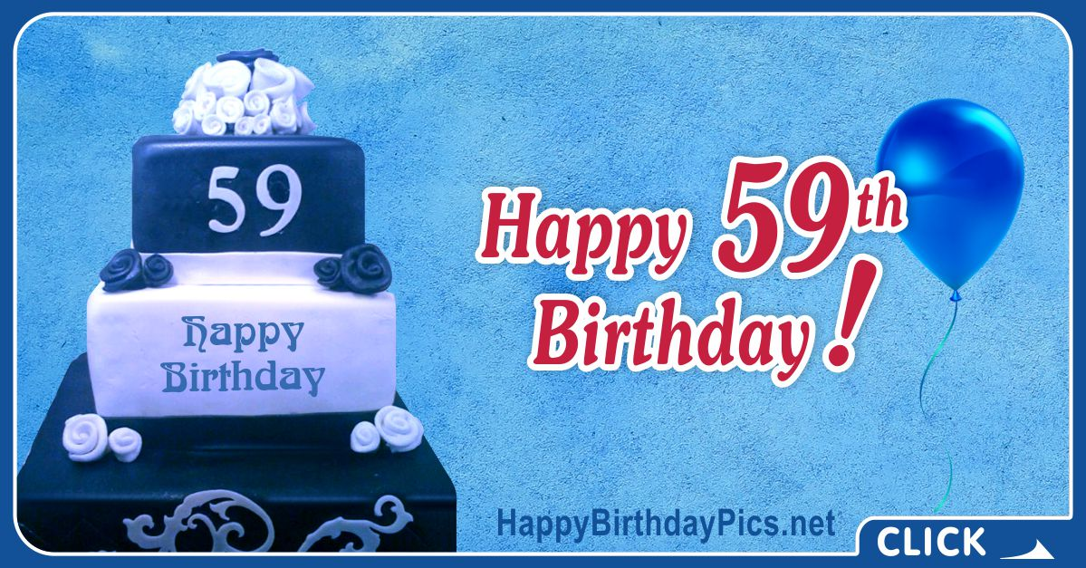 Happy 59th Birthday with Navy Blue Cake Card Equivalents