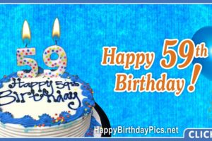 Happy 59th Birthday with Blue Ornaments